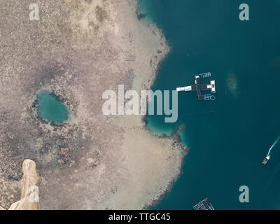 Aerial view of lobster farm - Stock Photo