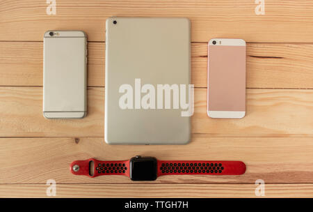Different types of mobile, tablet and smartwatch of last generation - Stock Photo