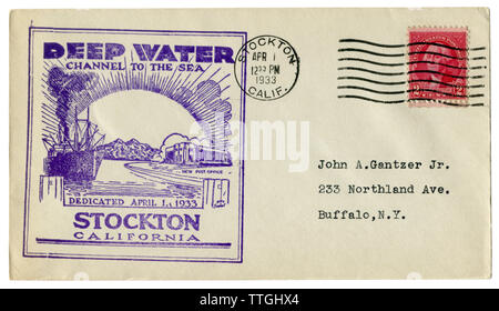 Stockton, California, The USA  - 1 April 1933: US historical envelope: cover with cachet Deep water channel to the sea,  George Washington stamp - Stock Photo