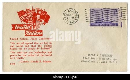 Cleveland, Ohio, The USA  - 4 August 1945: US historical envelope: cover with cachet United Nations Peace Conference, the flags of the allied powers - Stock Photo