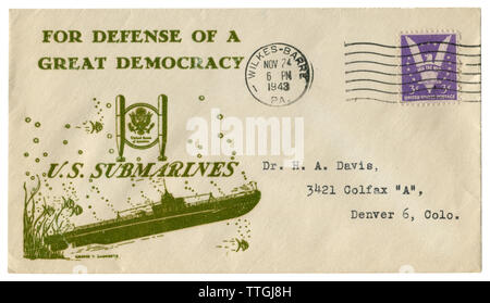 Wilkes-Barre, Pennsylvania, The USA  - 24 November 1943: US historical envelope: cover with cachet For defense of a Great democracy U.S. submarines - Stock Photo