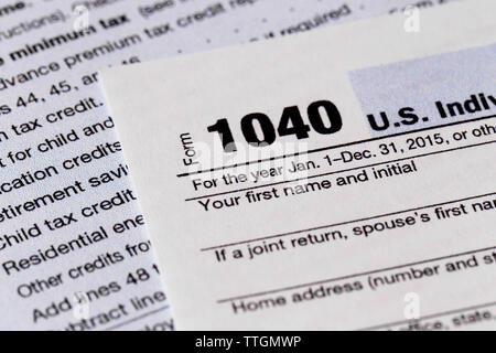 1040 Individual Income Tax Return Form for 2015 year, close up - Stock Photo