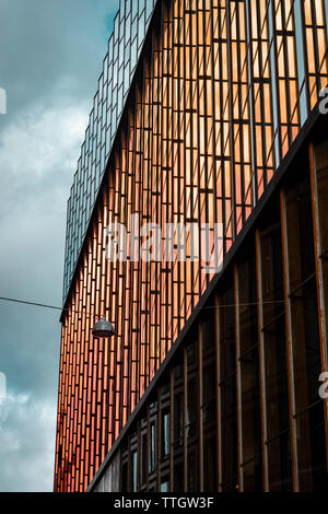 Modern dutch architecture. Side wall of Conservatorium van Amsterdam. - Stock Photo