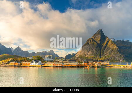 Fishing village of Sakrisoy by the sea, Lofoten Islands, Norway - Stock Photo