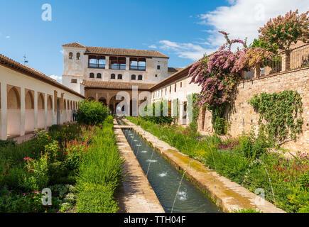Patio de la Acequia, Generalife, Alhambra, Granada, Spain - Stock Photo