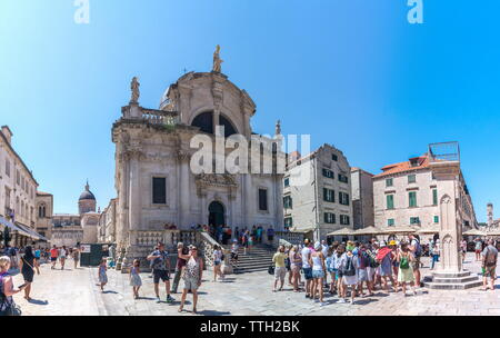 Streets of Dubrovnik Old Town in Croatia - Stock Photo