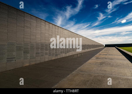 Wall that remembers the names of the victims of state violence, in the Memory Park in Buenos Aires, Argentina - Stock Photo