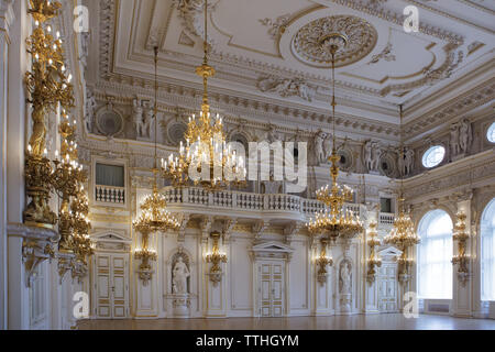 Spanish Hall (Španělský sál) of the New Royal Palace (Nový královský palác) in Prague Castle in Prague, Czech Republic. - Stock Photo