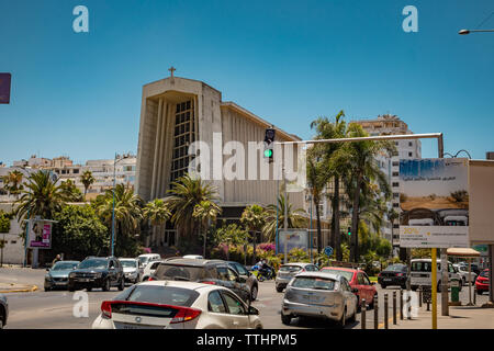 Casablanca, Morocco - 15 june 2019: traffic jam in front of Church of Notre Damme de Lourdes - Stock Photo