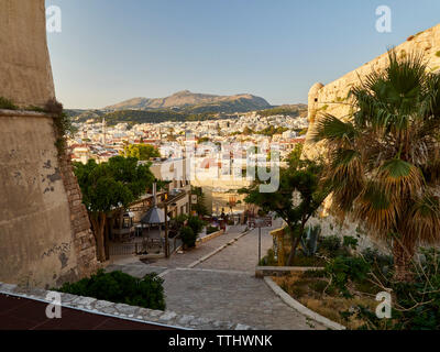 The old castle (Fortezza) and view of city of Rethymno (Rethymnon), Crete, Greek Islands, Greece, Europe - Stock Photo