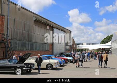 Classic car parking, Concorde beyond, Double Twelve Motorsport Festival 2019, Brooklands Museum, Weybridge, Surrey, England, Great Britain, UK, Europe - Stock Photo