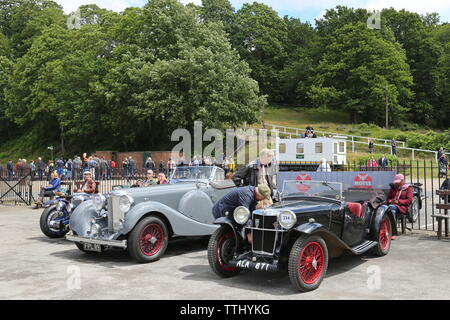 Lagonda LG 45 (1937) and MG K1 (1933), Double Twelve Motorsport Festival 2019, Brooklands Museum, Weybridge, Surrey, England, Great Britain, UK Europe - Stock Photo