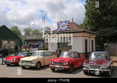 Triumph owners display, Double Twelve Motorsport Festival 2019, Brooklands Museum, Weybridge, Surrey, England, Great Britain, UK, Europe - Stock Photo