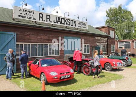 MG Car Club display, Double Twelve Motorsport Festival 2019, Brooklands Museum, Weybridge, Surrey, England, Great Britain, UK, Europe - Stock Photo