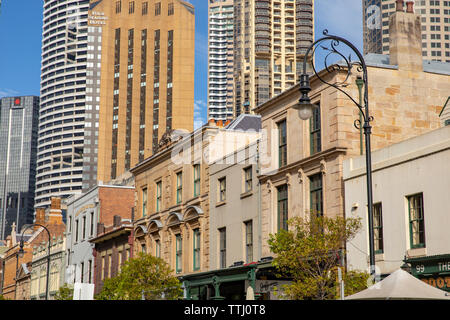 Historic Rocks area of Sydney contrasts with new developments and architecture in Sydney city centre,New South Wales,Australia - Stock Photo