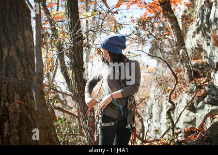 Woman adjusting safety harness while standing by trees - Stock Photo