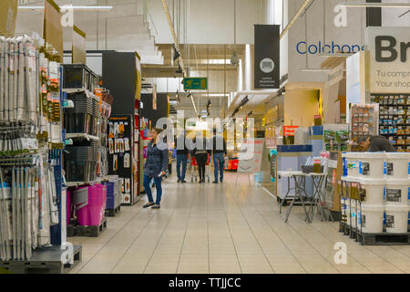 Household goods in Carrefour supermarket, Torremolinos, Costa del Sol, Malaga Province, Andalusia, southern Spain. - Stock Photo
