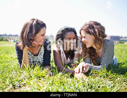 Friends relaxing on grassy field against sky - Stock Photo