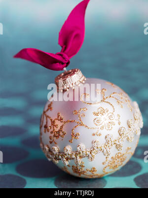 Christmas Ornament on table Stock Photo