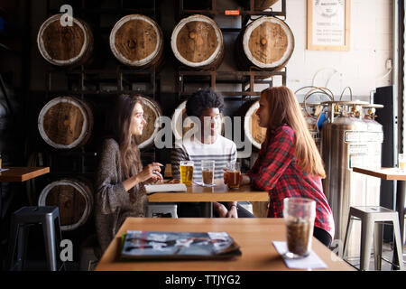 Smiling friends talking while having beer at table against barrels in brewery - Stock Photo