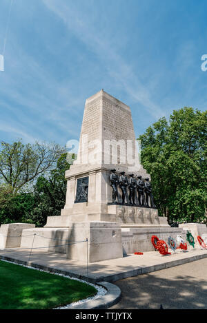 London, UK - May 15, 2019: The Guards Memorial, also known as the Guards Division War Memorial, it is an outdoor war memorial located on the west side - Stock Photo
