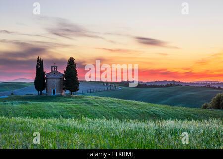 Cappella Madonna di Vitaleta chapel at sunset, San Quirico d'Orcia, Siena Province, Tuscany, Italy, Europe