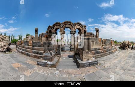 Zvartnots archaeological ruin, UNESCO World Heritage Site, Armenia, Caucasus, Central Asia, Asia - Stock Photo