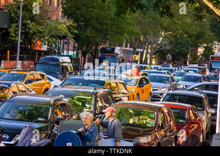 Traffic backed up on Fifth Avenue in the neighborhood of Harlem in New York on Tuesday, June 11, 2019. (© Richard B. Levine) - Stock Photo