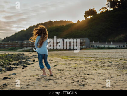 Rear view of girl with tousled hair standing on field - Stock Photo