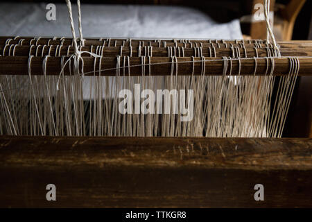 High angle view of loom in textile industry - Stock Photo