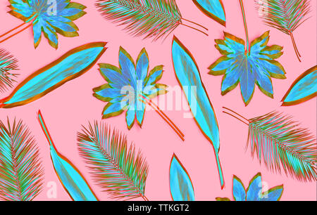 Artistic palm leaves pattern on pink background - Stock Photo