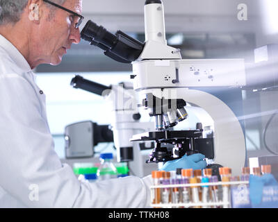 Side view of male scientist analyzing blood samples through microscope in laboratory - Stock Photo
