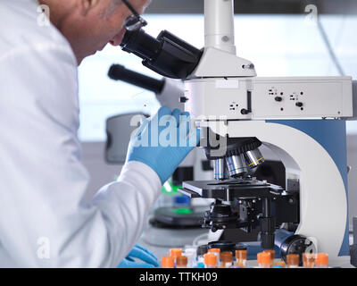 Side view of scientist analyzing blood samples through microscope in laboratory - Stock Photo