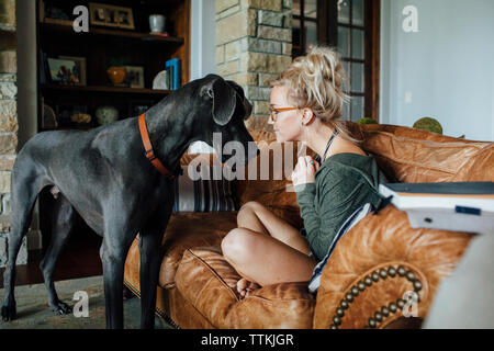 Woman looking at Great Dane while sitting on sofa - Stock Photo
