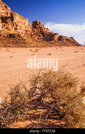 The rock formations in the Jordanian desert at Wadi Rum or Valley of the Moon. - Stock Photo
