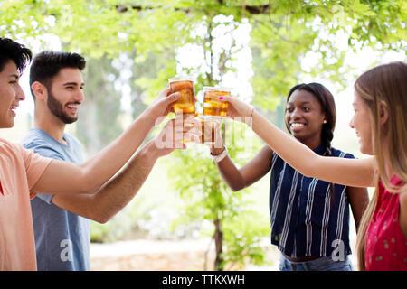Happy multi-ethnic friends toasting iced tea glasses at yard - Stock Photo