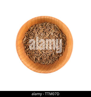 Cumin seeds in small wooden bowl isolated on white - Stock Photo