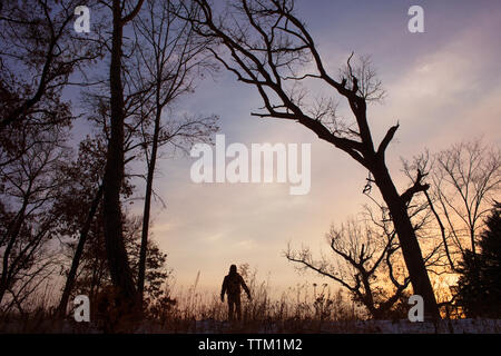 Man standing on field amidst silhouette trees against sky during sunset - Stock Photo