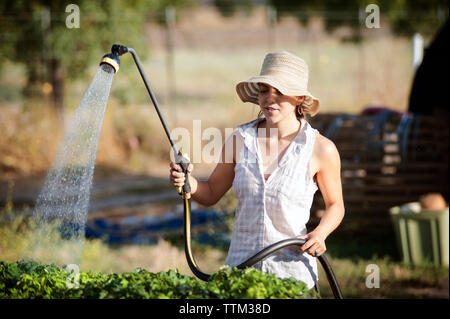 Young female farmer watering plants on field - Stock Photo