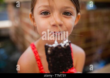 Portrait of happy girl eating chocolate popsicle - Stock Photo