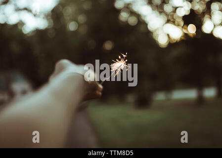 Cropped hand of woman holding sparkler at yard - Stock Photo