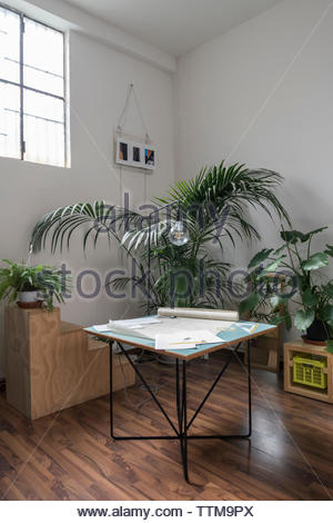 High angle view of blueprints with documents on table in office - Stock Photo
