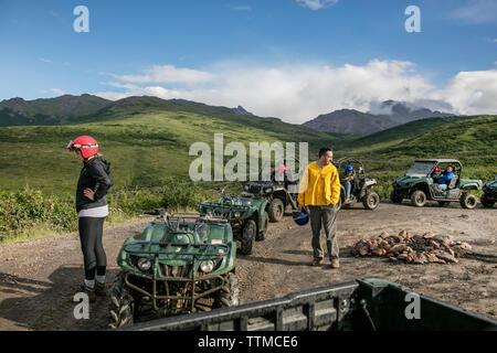 USA, Alaska, Denali National Park, ATV tour to Stampede Ridge which takes you through the taiga to picturesque panoramas of the Alaskan Range, Boreal - Stock Photo