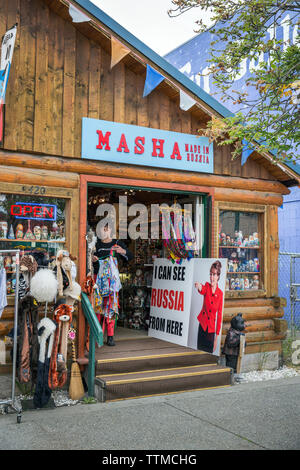 USA, Alaska, Anchorage, Inga the store owner in front of her store, Masha, a local store located in downtown Anchorage - Stock Photo