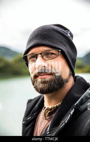 USA, Alaska, Redoubt Bay, Big River Lake, one of the bear biologists at Redoubt Bay Lodge - Stock Photo