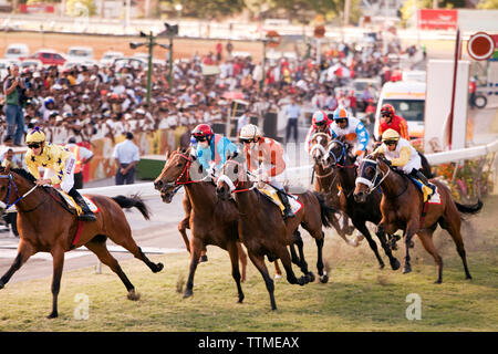 MAURITIUS, Port Louis, an international horse race draws thousands at Champ de Mars Race Cource, International Jockey Day - Stock Photo