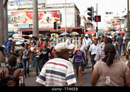 MAURITIUS; busy street scene in the business district; Port Louis - Stock Photo