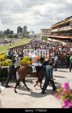 MAURITIUS; Port Louis; an international horse race draws thousands at Champ de Mars Race Cource; International Jockey Day - Stock Photo