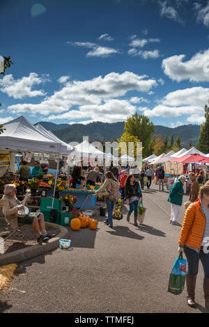 USA, Oregon, Ashland, people stroll through the Rogue Valley Growers and Crafters Market - Stock Photo