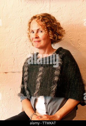 USA, California, San Francisco, portrait of the owner of Knitz and Leather, Julia Ringerhaus, North Beach - Stock Photo